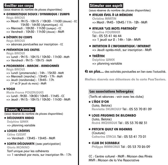 Maison des Ainés de Villeneuve-sur-Lot activités 2016-2017