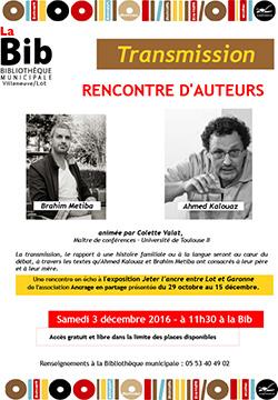 Ahmed KALOUAZ et Brahim METIBA, écrivains invités de la Bibliothèque de Villeneuve sur Lot
