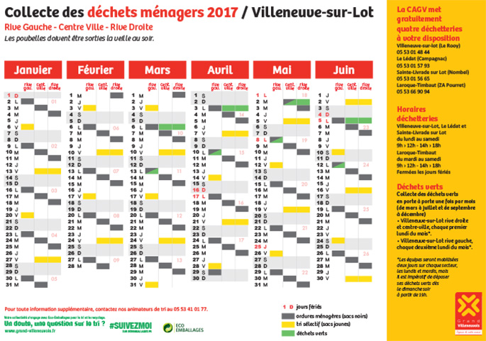 Calendrier 2017 des jours de collecte des OM à Villeneuve