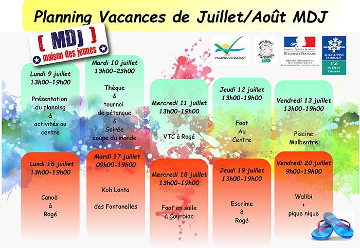 Planning estival de la MDJ de Villeneuve-sur-Lot