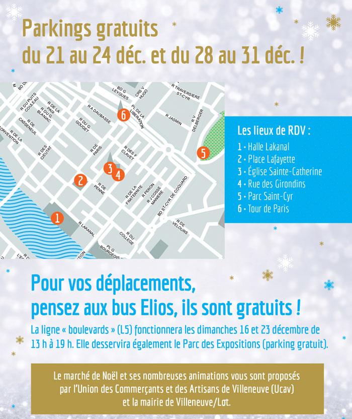 Parkings gratuits à noel à Villeneuve