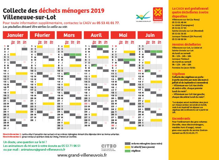 Calendrier des jours de collecte des ordures ménagères à Villeneuve-sur-Lot