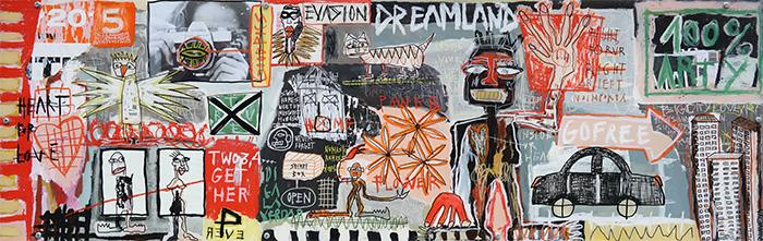 Dreamland. Technique mixte. Peinture acrylique, pastels, feutres sur bois. Châssis métal.   © Fabrice Micheaudeau/Goodluz