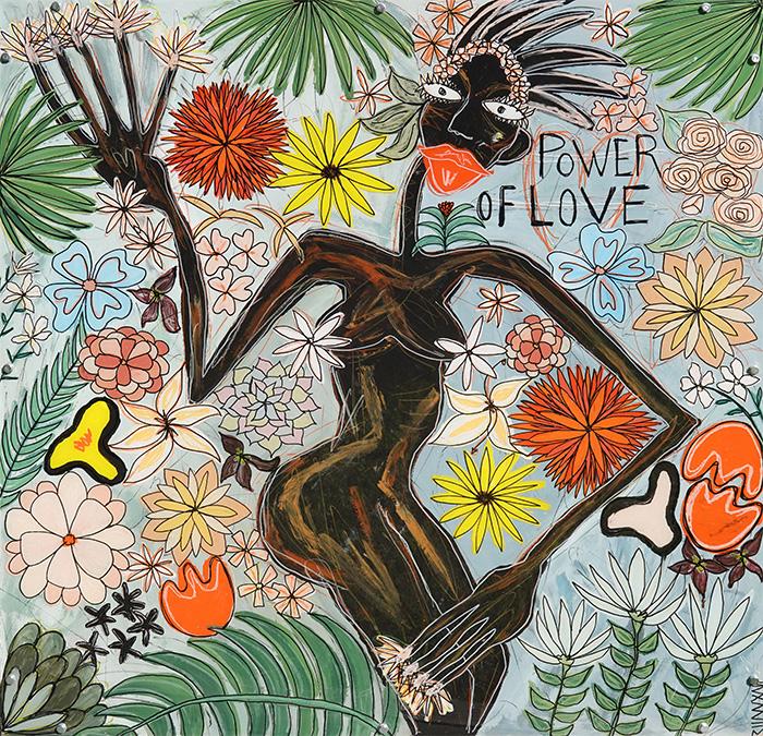 Power of Love. Technique mixte. Peinture acrylique, pastels, feutres sur bois. Châssis métal. © Fabrice Michaudeau/Goodluz