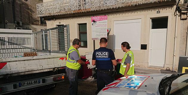 Opération « coup de poing » menée en lien avec la police municipale pour un coup de propre sur la ville.