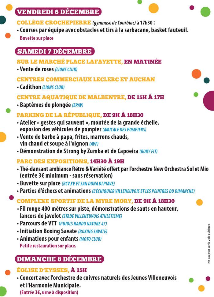 Programe téléthon 2019 à Villeneuve