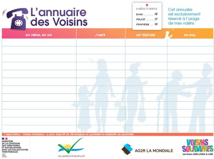 Annuaire des voisins solidaires de Villeneuve