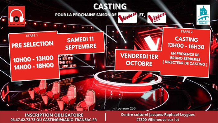 Castinf The Voice à Villeneuve